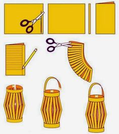 How to Make Chinese Paper Lanterns - I was surprised to see these are still being made; they were a regular craft when I was in elementary school in the It's good to know there is something I c (Diy Paper Lanterns) Ramadan Crafts, Ramadan Decorations, New Years Decorations, Chinese Party Decorations, New Year's Crafts, Holiday Crafts, Kids Crafts, Craft Projects, Diy Crafts With Paper