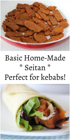 Basic Home-Made Seitan – Bit of the Good Stuff Seitan Recipes, Kebab Recipes, Vegetarian Recipes, Veggie Recipes, Free Recipes, Dinner Recipes, Vegan Pie, Vegan Foods, Vegetarian Cooking
