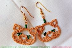 Kittens tatted earrings Tatting lace cat Beaded jewelry frivolite Hello Kitty