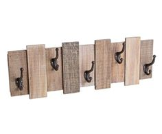 Perchero de pared en madera de abeto Inca, natural - 72x24 cm