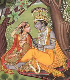 Radha Krishna in a Grove of Vrindavan, Hindu Water Color Painting on PaperArtist:Kailash Raj Radha Krishna Wallpaper, Radha Krishna Images, Radha Krishna Love, Shree Krishna, Radhe Krishna, Rajasthani Miniature Paintings, Rajasthani Painting, Silk Painting, Watercolor Paintings