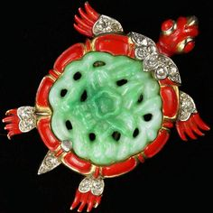 Trifari 'Alfred Philippe' Jade Belly Ming Turtle Pin Clip