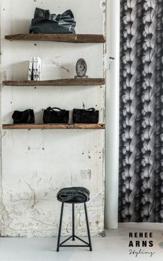 .wooden shelves