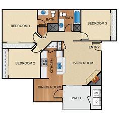 Hunter' Ridge Beds:3 Baths:2 Sq. Ft.:1036 Deposit:$400 Rent:$840  Floor:1st floor Available: NOW!!!