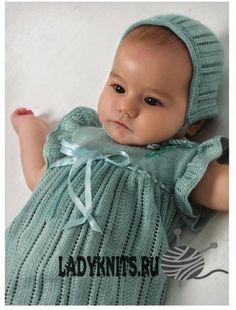 Ажурное платье и шапочка для девочки спицами