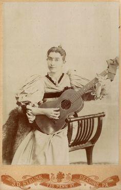 ca. 1880-90's, [cabinet card, portrait of a bespectacled guitar player], J.D. Strunk via Ebay