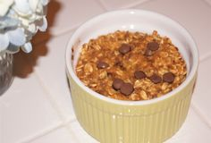 Baked Pumpkin Chocolate Chip Oatmeal - delicious for fall breakfasts and packed with protein and fiber for a healthy breakfast
