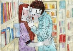 reading at the library is. Gilbert Blythe, Emo Couples, Desenhos Love, Amybeth Mcnulty, Gilbert And Anne, Chibi Couple, Anne Shirley, Couple Drawings, Anne Of Green Gables