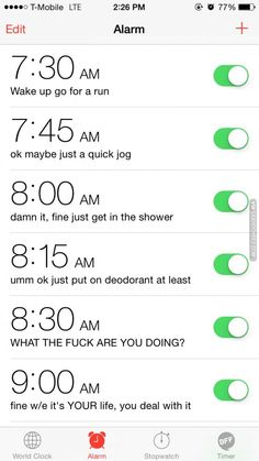 My alarms