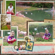 Scrapbook Page Layout - Cece at the pond