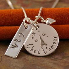 Hand Stamped Necklace  Personalized Jewelry - C'est L'amour - It is love