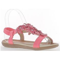 Chaussmoi Pink flat sandals with flowers and rhinestones decor womens Sandals in pink