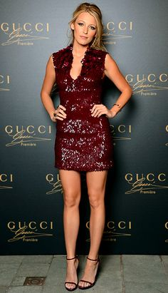 Blake Lively can do no wrong - I am loving the burgundy sequin dress!