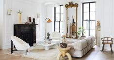 The Best Paint Color in Every Room of Athena Calderone's Brooklyn Home Sofas Vintage, Marble Columns, Best Paint Colors, American Houses, Hamptons House, Breath Of Fresh Air, Upper Cabinets, Cool Paintings, Home Buying