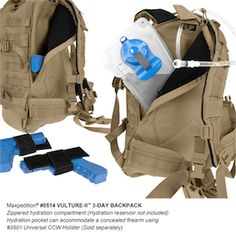 Many pockets for a variety of supplies. A large hydration compartment. Great for hikers and campers.
