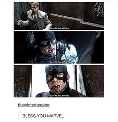 That right there is just one of the reasons why Steve Rogers is the most… I feel like this always has something to do with bucky. He says it right before bucky arrives, right after he dies, and then while he's fighttig for/with bucky. Steve Rogers, Marvel Avengers, Marvel Dc Comics, Marvel Civil War, Civil Wars, Captain America Civil War, Dc Memes, Marvel Memes, Movie Memes