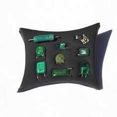 Found Object Jewelry Upcycled Green and Black Electronic by Tanith