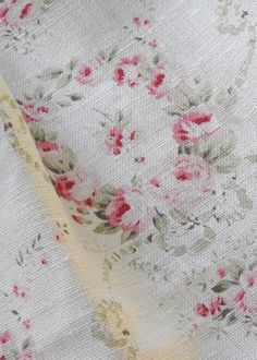 Mathilde ~ Rose & Thyme on Chunky Cream Linen - Peony & Sage Rose Curtains, Floral Curtains, Ticking Fabric, Rose Garland, Apple Roses, Vintage Interiors, Linens And Lace, Rose Cottage, Soft Furnishings