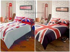 Dark blue and purple bedding sets royal bedroom for Union jack bedroom ideas