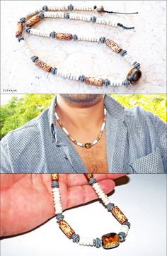 Men necklace - Surfer necklace - Real gems and Agate Center - Men Neckless - Gift for men - Choker necklace - Men jewelry - Men Choker