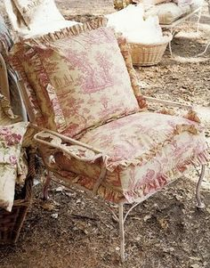 iron garden chair with big ruffled cushions.love the toile fabric Country Decor, French Country Decorating, Porch Chairs, French Decor, Cottage Decor, Chair, Shabby Chic Cottage, Cottage Chic, Shabby