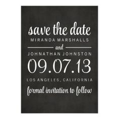 Classy #Chalkboard Photo Save The Date Invites  #wedding #savethedate