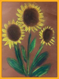 Auringonkukkia pölypastelleilla (1.-2.lk). Alkuopettajat FB -sivustosta / Eeva…