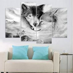 Canvas Prints Poster Home Decor 4 Pieces Two Wolves Snuggle Together Paintings Wall Art Modular Pictures Living Room Framework Painting Frames, Diy Painting, Canvas Art Prints, Canvas Wall Art, Wolf Canvas, White Wolf, Black White, Black Horses, Home Decor Pictures