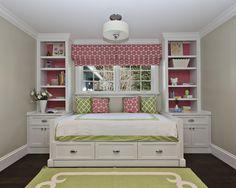 Custom Cabinetry, built-in bed with hidden trundle below bed. Photographer Frank Paul Perez Decoration Nancy Evars, Evars + Anderson Interior Design
