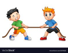 Cute children playing tug of war Royalty Free Vector Image Art Wall Kids, Art For Kids, Clown Crafts, Kids Gym, Age Appropriate Chores, Carson Dellosa, Action Words, Tug Of War, Sports Day