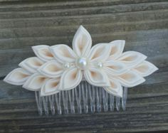 White and Purple Kanzashi Flower Hair comb by AngelPetals on Etsy