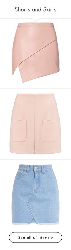 """Shorts and Skirts"" by thedailywear ❤ liked on Polyvore featuring skirts, mini skirts, bottoms, faldas, asymmetrical leather skirt, leather zipper skirt, zipper mini skirt, pink mini skirt, short skirts and pastel pink"