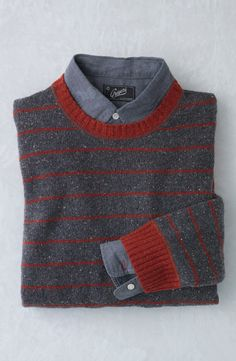 Men's gift | Striped sweater with elbow patches for layering.