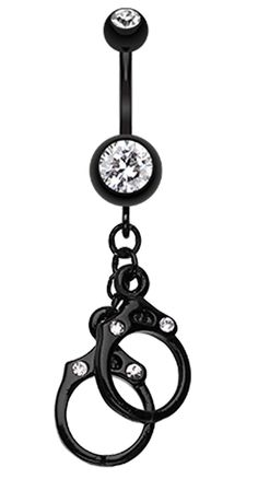 Blackline Handcuff Sparkle Belly Button Ring - 14 GA (1.6mm) - Black - Sold Individually