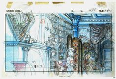 """3lix13: """" …animation layouts from 'Spirited Away' - written and directed by Hayao Miyazaki and produced by Studio Ghibli (2001)… """""""