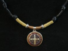 St. Benedict medal. Necklace handmade for men. Religious. Adjustable length. Medallion. Medalla San Benito by SaraBarbadillo on Etsy