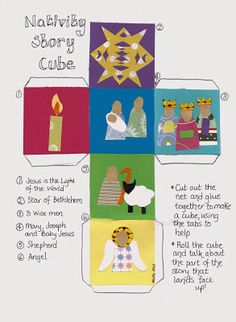 Nativity story cube (full colour or colour-in versions!)