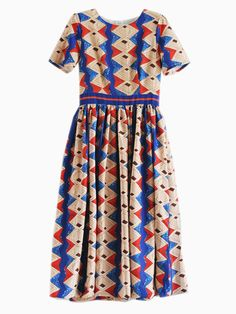 Multi Geometry Print Midi Dress | abaday