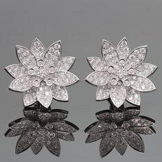 VAN CLEEF & ARPELS Lotus Diamond White Gold Large Clip-on Earrings