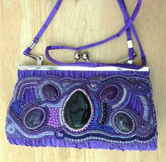 Amethyst violet purple bead embroidered clutch hand by suegoode