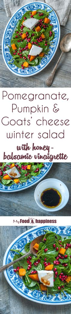 A super delicious and filling seasonal salad that includes Pomegranate, Pumpkin & Goats' cheese, seasoned with an amazing Honey-Balsamic vinaigrette! If you wish you can easily keep it vegan by skipping the cheese.