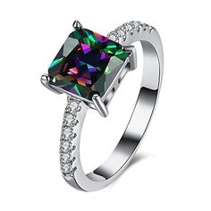 FENDINA White Gold Womens Wedding Engagement Ring Solitaire Ring 18K Rainbow Square Cut Gemstone Mystic Opal Jewelry Ring >>> Check out this great product.
