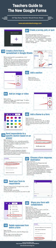 A Handy Infographic Featuring 10 Important New Google Forms Tips for Teachers ~ Educational Technology and Mobile Learning