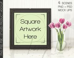 10x10 Square Ornamental Black Matted & Unmatted Frame on Table, Tulips Camera, Print Display Mockups, PNG PSD PSE, Styled Images 8x8 16x16