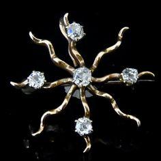 c1800 Victorian Old Mine Cut Diamonds 14k Gold Pinwheel Brooch Pendant Antique Vintage Estate