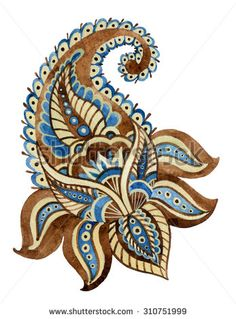 Watercolor paisley element of indian ornament. Hand painted ethnic motif for your design - stock photo Paisley Art, Paisley Design, Paisley Pattern, Paisley Flower, Hand Work Embroidery, Embroidery Jewelry, Free Machine Embroidery, Textile Pattern Design, Textile Patterns