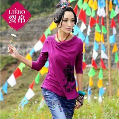 LIEBO designer 2014 spring new fashion women cotton tees print slash neck slim fit long sleeve T-shirt $40.00