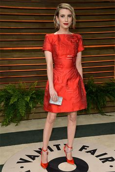The Oscar After-Party vanity fair red dress Emma Roberts