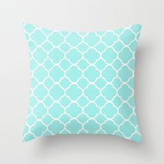 Velveteen Aqua Quatrefoil Pillow - Aqua Throw Pillow - Housewares - Home Decor - Housewarming Gift - Girls Room Decor - Teen Room Decor