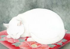 Midori Yamada Japanese) - The Great Cat Art Et Illustration, Illustrations, Asian Cat, Midori, Frida Art, Video Chat, Japanese Cat, Photo Chat, Cat Quilt